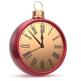 New Year`s Eve clock countdown Christmas ball midnight time Stock Photography