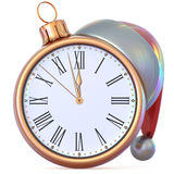 New Year`s Eve clock golden Christmas ball midnight hour Stock Images