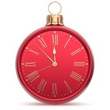 New Year`s Eve clock midnight countdown Christmas ball time Royalty Free Stock Photos