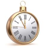 New Year`s Eve clock midnight countdown Christmas ball gold Stock Photo