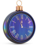 New Year`s Eve clock midnight last hour countdown pressure. Christmas ball decoration ornament black sparkly adornment bauble. Seasonal happy wintertime royalty free illustration