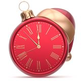 New Year`s Eve clock Santa hat Christmas ball decoration red Royalty Free Stock Images