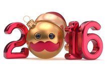 New Year's Eve 2016 date Christmas ball emoticon bauble. Santa Claus hat cartoon mustache face decoration red gold. Happy Merry Xmas cheerful funny person Stock Photography