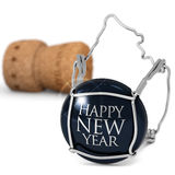 New Year's Eve dinner. Close up of champagne cork on white background Stock Image