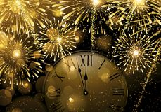New Year`s Eve.Explosion of fireworks and midnight. Luxury holiday Christmas card. Space golden background with golden salutes, fireworks and with arrows clock Stock Photos