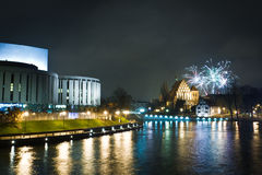 New Year's Eve with firecrackers royalty free stock photography