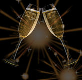 New Year`s Eve. Firework and champagne glasses and year 2017 Stock Photo