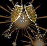 New Year`s Eve. Firework and champagne glasses and clock and year 2017 Stock Images