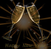 New Year`s Eve. Firework and champagne glasses and text happy new year and year 2017 Royalty Free Stock Photo