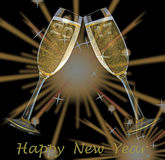 New Year`s Eve. Firework and champagne glasses and text happy new year and year 2017 Royalty Free Stock Image