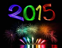 New Year's Eve 2015 with Fireworks. Background royalty free stock image