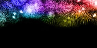 New Year`s Eve fireworks background copyspace copy space colorfu stock photo