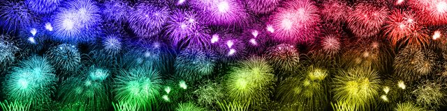 New Year`s Eve fireworks background large banner colorful years royalty free stock photo
