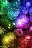 New Year`s Eve fireworks background portrait format colorful yea