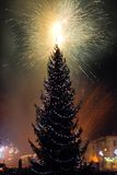 New Year's Eve fireworks. Behind  Christmas tree Stock Images