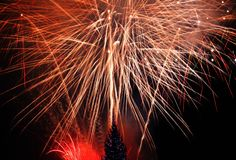 New Year's Eve fireworks. Behind  Christmas tree Royalty Free Stock Images