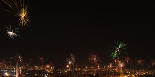 New year's eve fireworks in the city of Arequipa, Peru. Royalty Free Stock Photography
