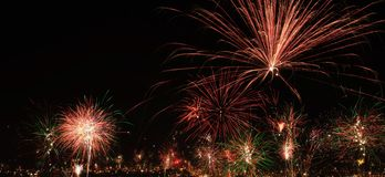 New year's eve fireworks in the city of Arequipa, Peru Stock Photo