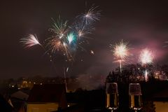 New Year`s Eve fireworks stock photography