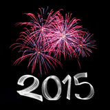 New Year's Eve 2015 with Fireworks Stock Image