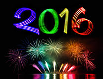 New Year's Eve 2016 with Fireworks Royalty Free Stock Photo