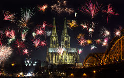 New Year's Eve fireworks. Display near the cathedral in Cologne, Germany Royalty Free Stock Photography