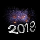 New Year`s Eve 2019 with Fireworks royalty free stock photos
