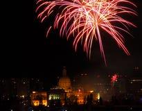 New Year`s Eve Fireworks In Edmonton Alberta. New Year`s Fireworks Over Legislative Building and downtown Edmonton Alberta December 31 2018 stock photos