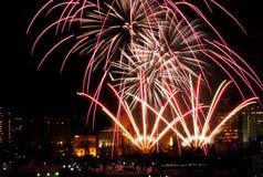New Year`s Eve Fireworks In Edmonton Alberta. New Year`s Fireworks Over Legislative Building and downtown Edmonton Alberta December 31 2018 royalty free stock image