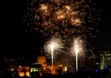 New Year`s Eve Fireworks In Edmonton Alberta. New Year`s Fireworks Over Legislative Building and downtown Edmonton Alberta December 31 2018 royalty free stock photos