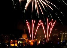 New Year`s Eve Fireworks In Edmonton Alberta. New Year`s Fireworks Over Legislative Building and downtown Edmonton Alberta December 31 2018 stock photo