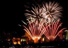 New Year`s Eve Fireworks In Edmonton Alberta. New Year`s Fireworks Over Legislative Building and downtown Edmonton Alberta December 31 2018 stock images