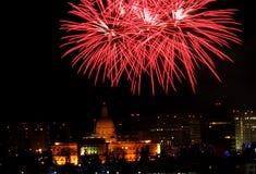 New Year`s Eve Fireworks In Edmonton Alberta. New Year`s Fireworks Over Legislative Building and downtown Edmonton Alberta December 31 2018 royalty free stock photography