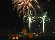 New Year`s Eve Fireworks In Edmonton Alberta. New Year`s Fireworks Over Legislative Building and downtown Edmonton Alberta December 31 2018 stock photography