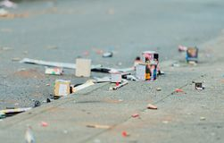 New Year`s Eve fireworks garbage after the New Year`s Eve night royalty free stock photos