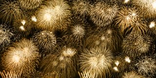 New Year`s Eve fireworks gold golden background banner years yea