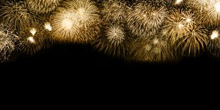 New Year`s Eve fireworks gold golden background copyspace copy s stock photography