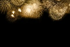 New Year`s Eve fireworks gold golden background copyspace copy s royalty free stock images