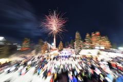 New Year`s Eve Fireworks on Grouse Mountain Royalty Free Stock Photography