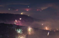 New year's eve fireworks near Freiburg Stock Images