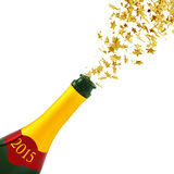 New Year's Eve. Golden stars exploding from a bottle of champagne Royalty Free Stock Images