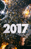 2017 New Year`s Eve Grunge Background With Champagne Cork Stock Photos