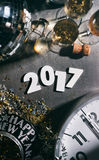 2017 New Year`s Eve Grunge Background With Midnight Clock Stock Image