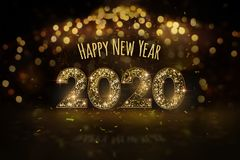 New Year`s Eve 2020 - Happy New Year, the concept of greeting card with golden motif