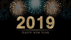 2019 New Year`s eve illustration, card with colorful fireworks and golden glitter 2019 royalty free illustration