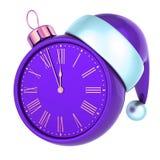 New Year`s Eve last hour Christmas ball clock face purple blue. New Year`s Eve last hour Christmas ball clock face purple, midnight countdown time, Santa hat vector illustration