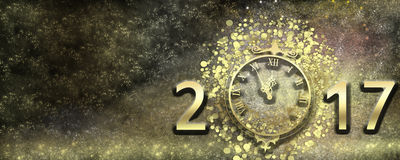 New Year`s Eve 2017. Luxury holiday Christmas card. Space golden background with gold numbers 2017 and with arrows clock. Five minutes before the new year Stock Photography