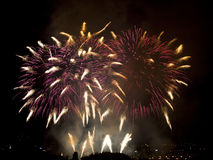 New Year's Eve midnight fireworks Stock Images