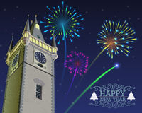 New Year's Eve. New Year midnight fireworks above the clock tower Stock Photos