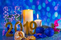 New year`s eve 2019. Christmas holiday and a glass of champagne stock photos